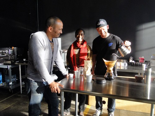 Kebe Konte and team at Red Bay Coffee in Oakland, CA
