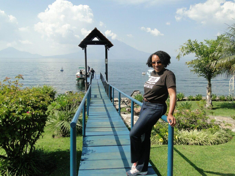 Sheree Wiliams on the dock of Hotel Atitlan