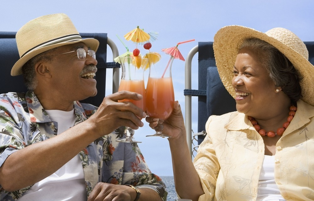 Couple having a cocktail on vacation