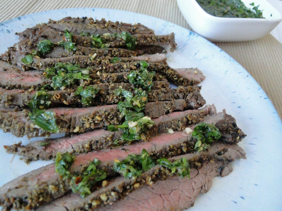 Peppercorn Crusted Steak with Chimichurri Sauce