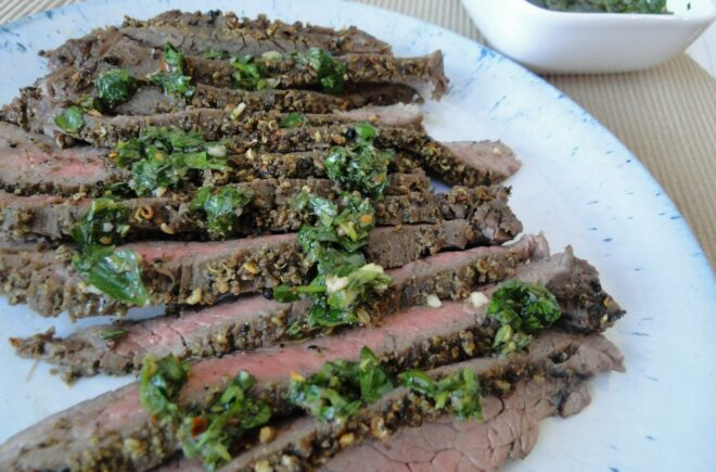 Peppercorn Crusted Steak with Chimichurri Sauce