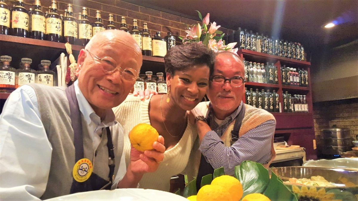 Aiyana Victoria Mathews in Japan with Store Owners
