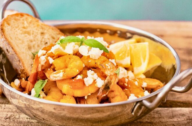 Saffron Shrimp with Tomatoes and Feta