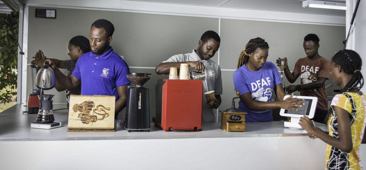 Baristas at Deaf Can Coffee in Kingston, Jamaica