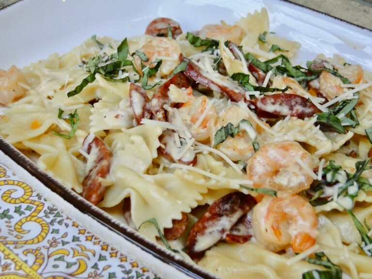 Shrimp & Sausage Pasta with Vodka Cream Sauce