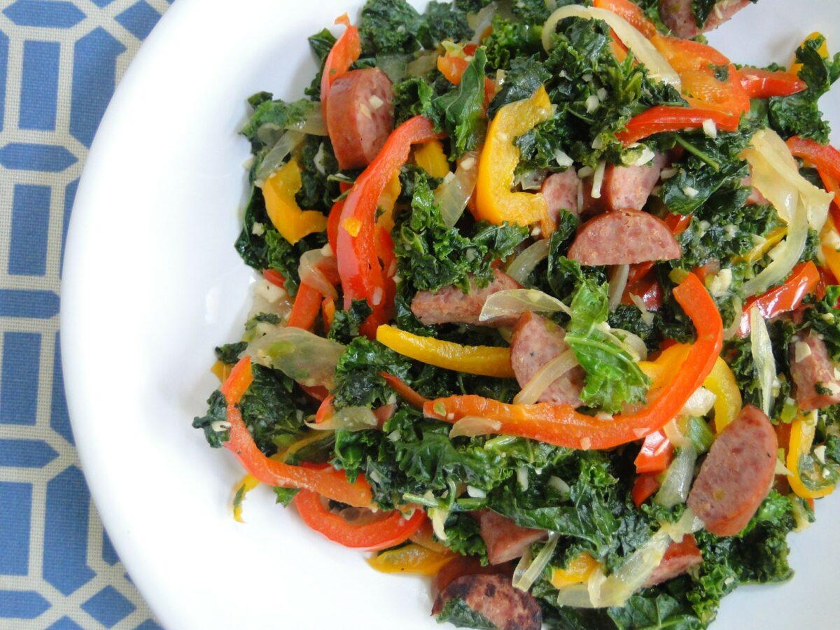 Cuisine Noir Magazine - Kale and Turkey Sausage Stir-Fry