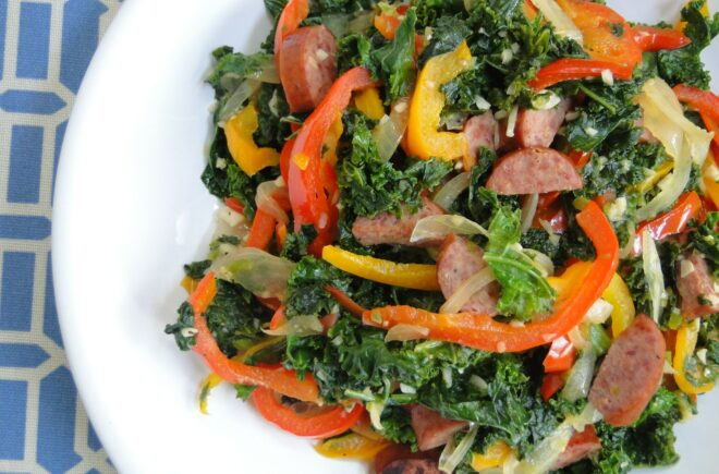 Cuisine Noir Magazine - Kale and Turkey Sausage Stir-Fry