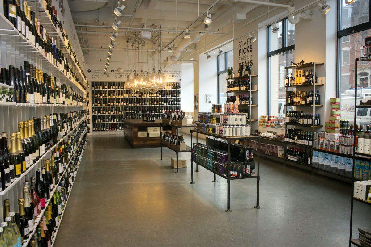 Inside of Urban Grape wine shop in Boston, MA