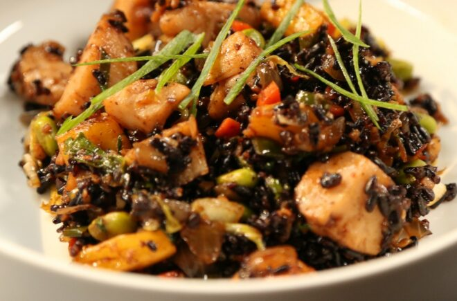 Pineapple Black Fried Rice with Scallops