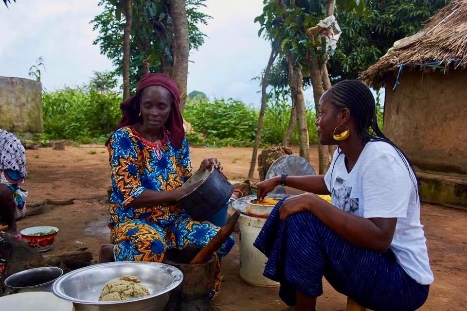 Chef Fatmata Binta cooking in an African village