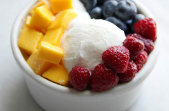 Frozen yogurt with fruit topping by Jake and Jazz Smollett
