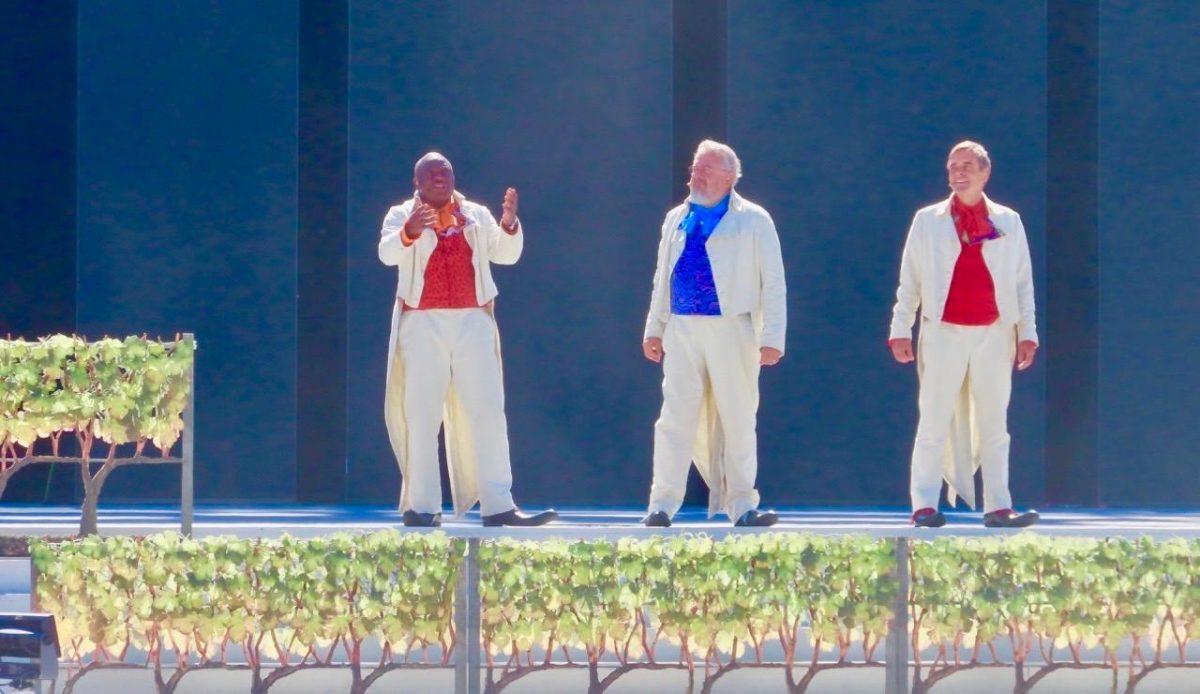 3 Actors on stage at Fêtedes Vignerons in Switzerland