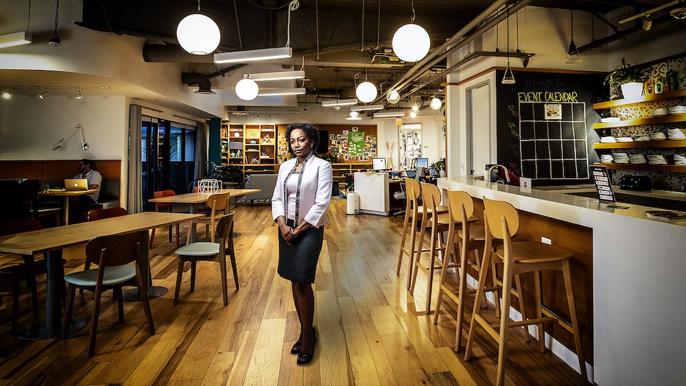 Duuple's Abby Frimpong in a restaurant