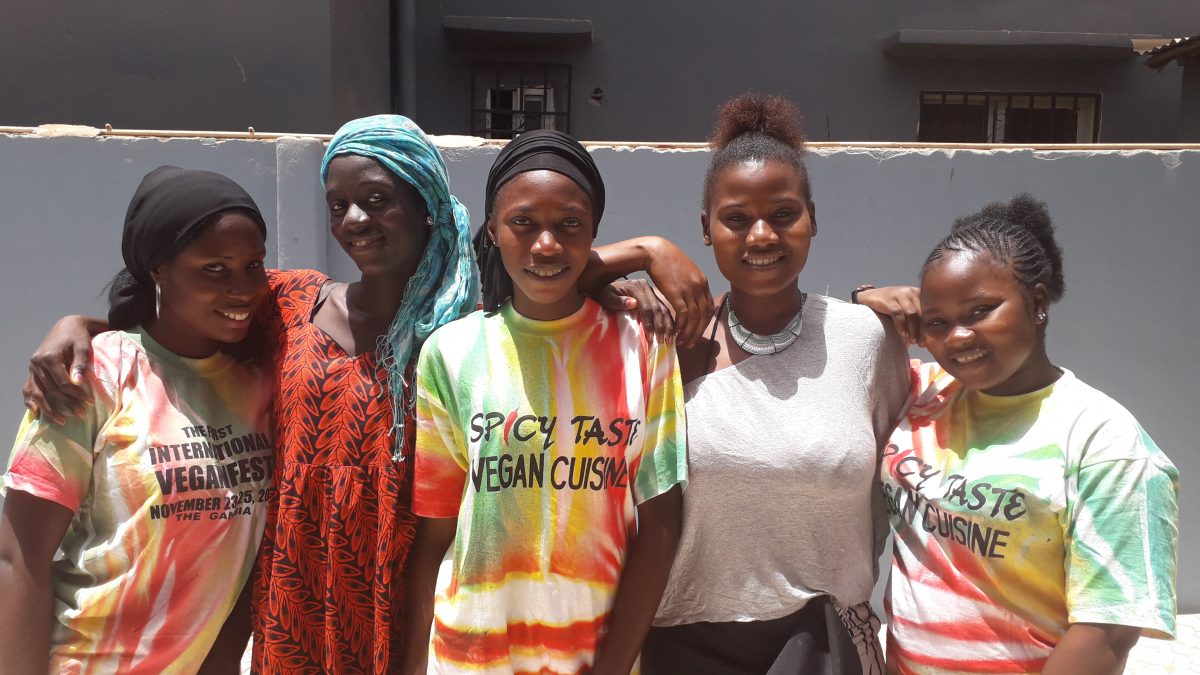 Students of the Spicy Tasty Vegan Cooking School in The Gambia