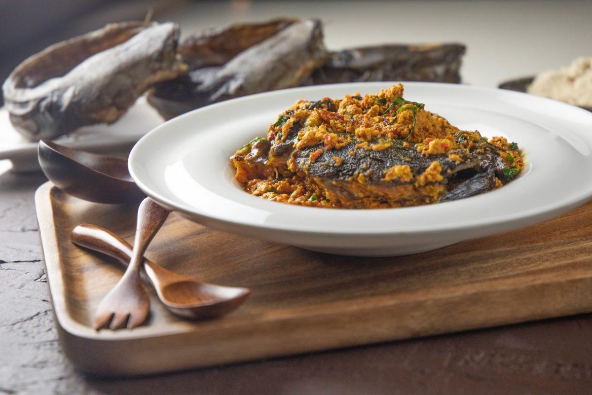 Egusi, Nigerian dish made of melon seeds at KIZA