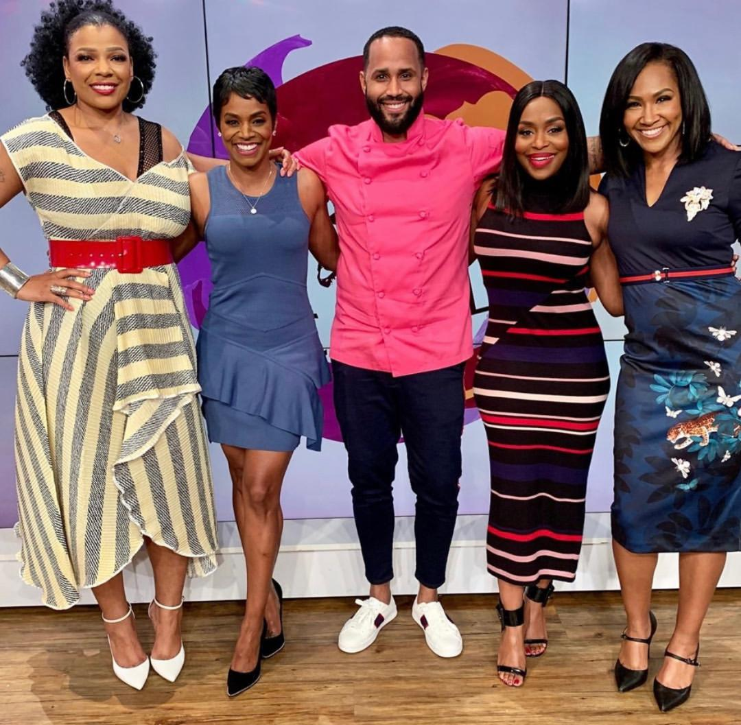 Chef Anthony Thomas with the hosts of Sister Circle