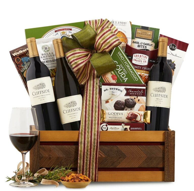 Wine Country Cliffside Vineyards California Trio Wine Basket