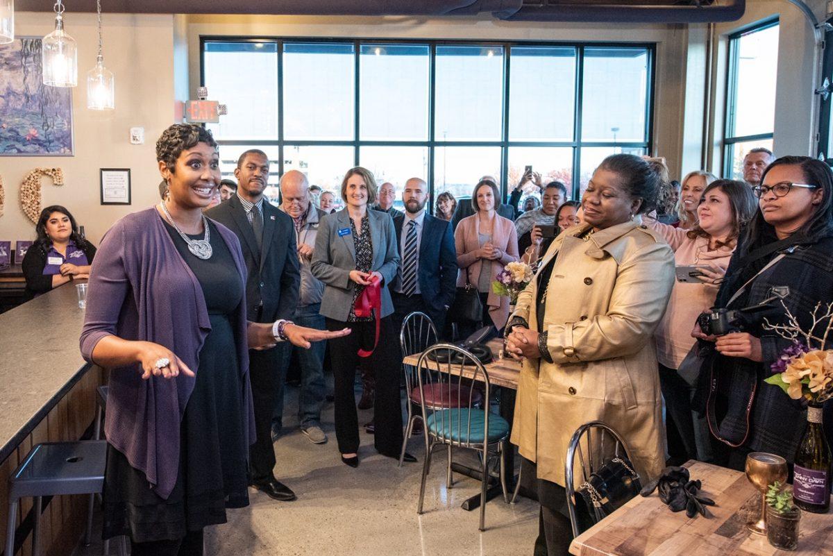 Jennifer Dawn McDonald at the opening of Jenny Dawn Cellars