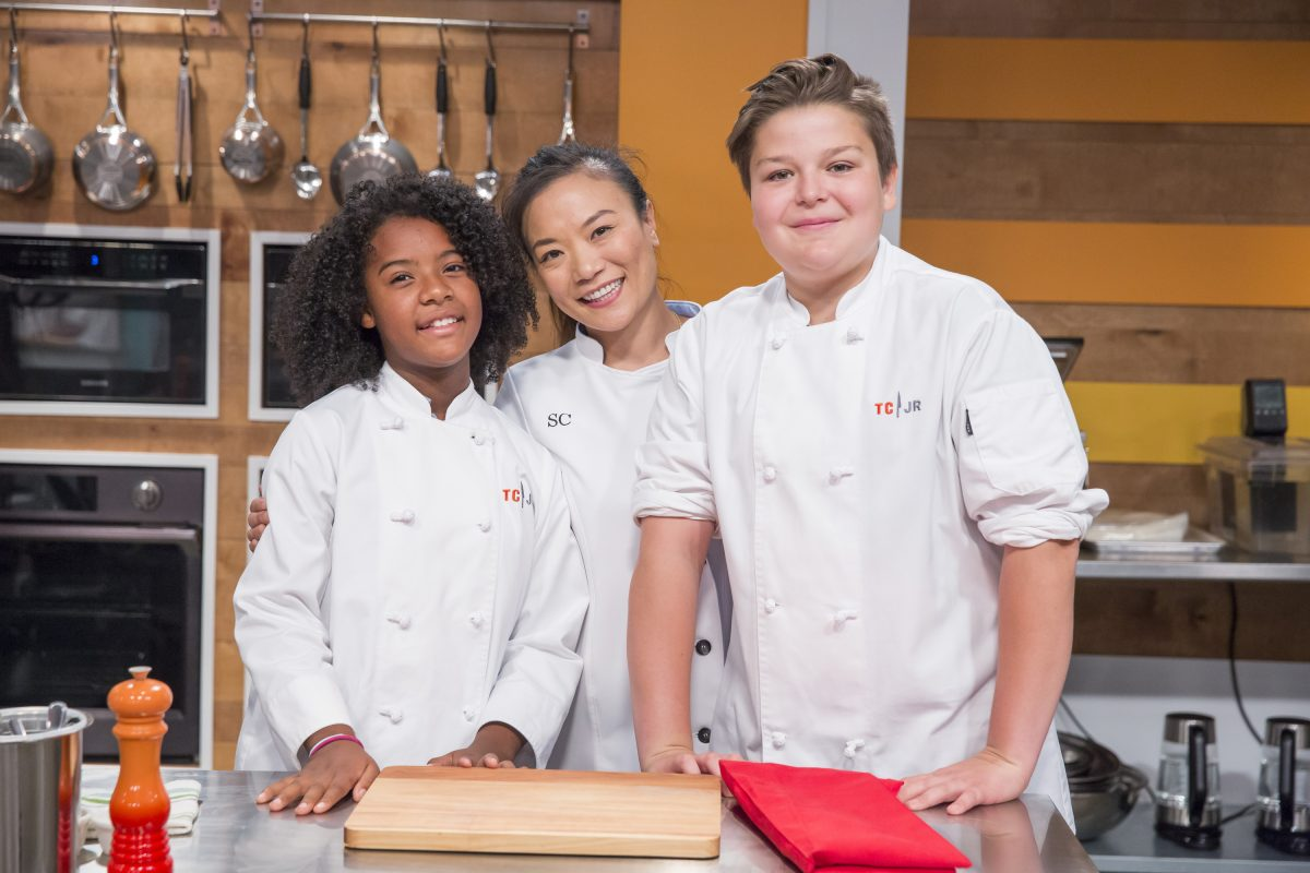 Rahanna Bisseret Martinez, Guest Chef Shirley Chung, Milo Fleming on Top Chef Junior