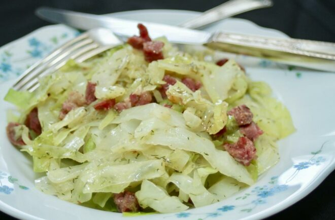 Traditional cabbage with ham hocks