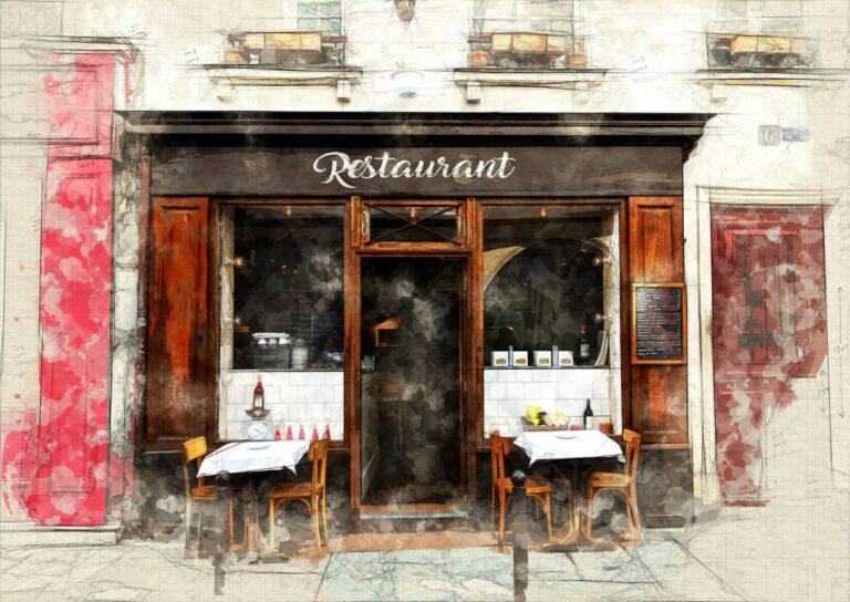 sketch of a restaurant facade in a Parisian street