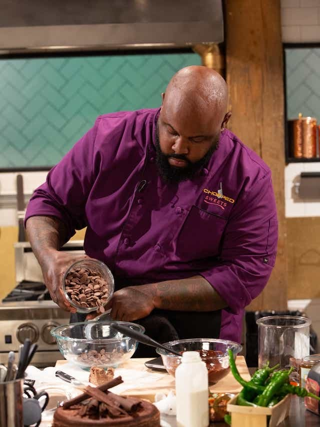 Phillip Ashley on the set of Chopped Sweets