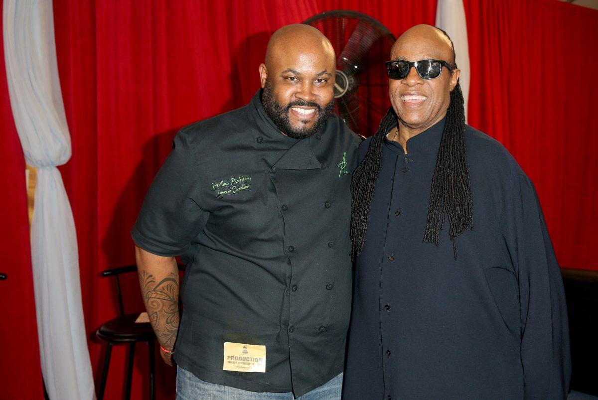 Phillip Ashley and musician Stevie Wonder