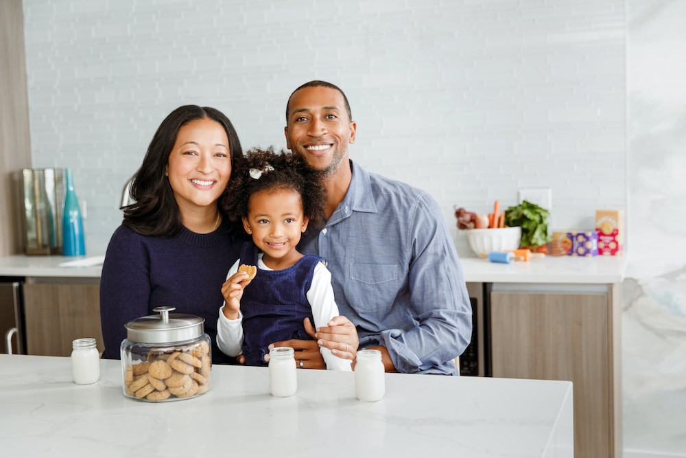 Denise Woodard with husband and daughter