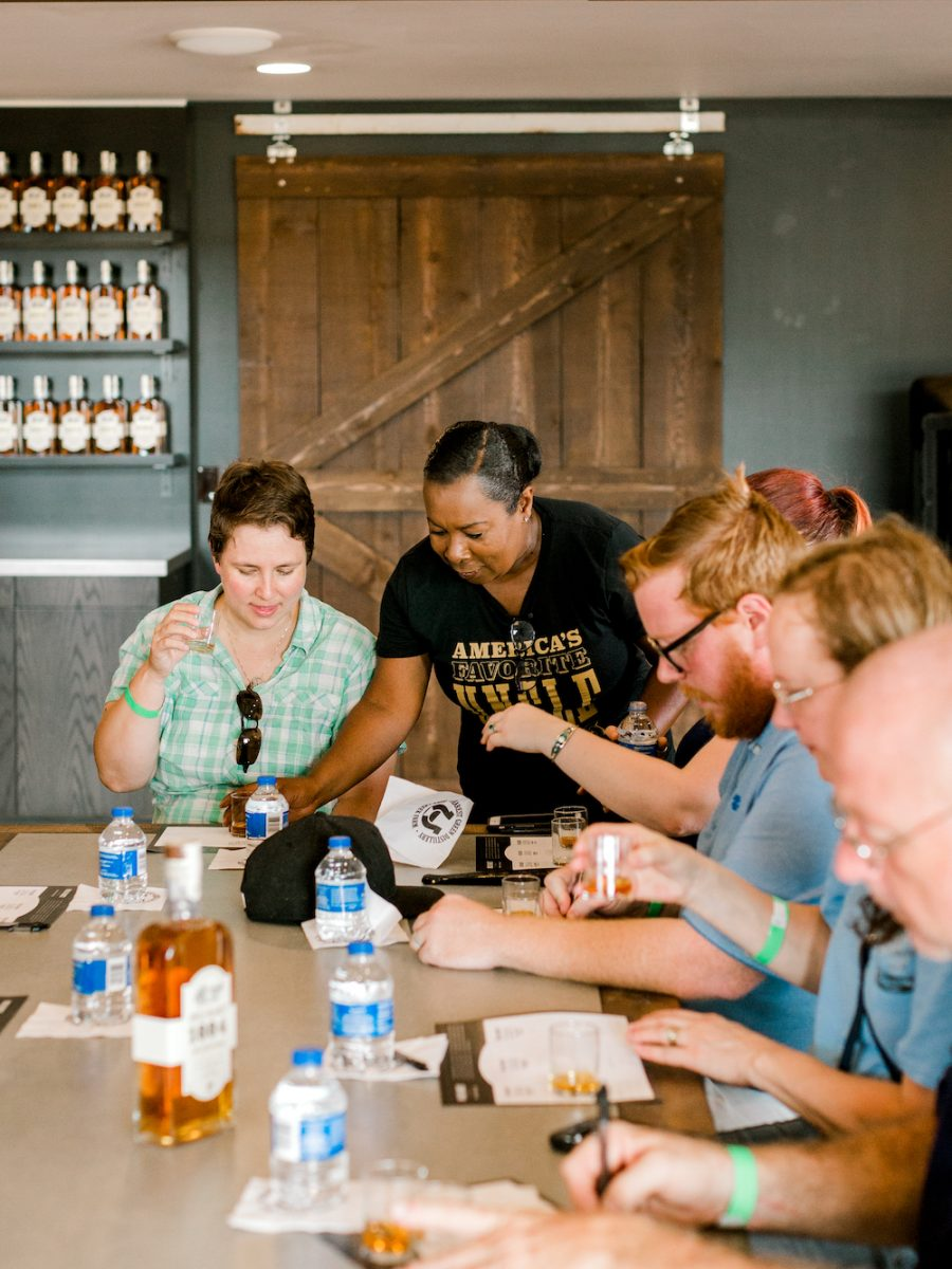 Victoria Butler conducting tasting at the Uncle Nearest Distillery