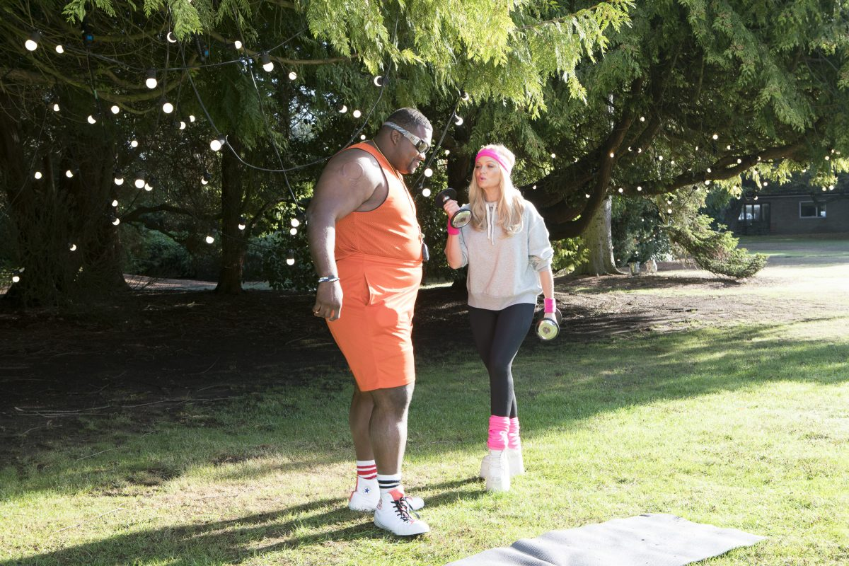 """Anthony """"Spice"""" Adams as Cream E. Biggums and The Great American Baking Show co-host Emma Bunton"""