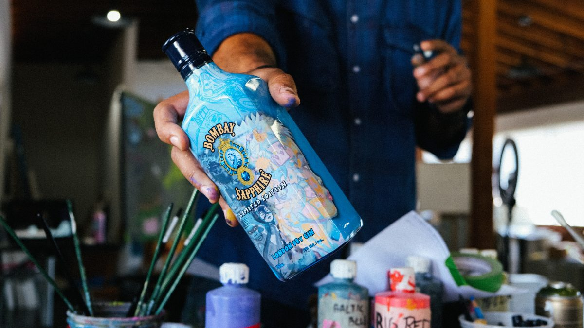 Limited-Edition Bombay Sapphire Gin bottle designed by Hebru Brantley