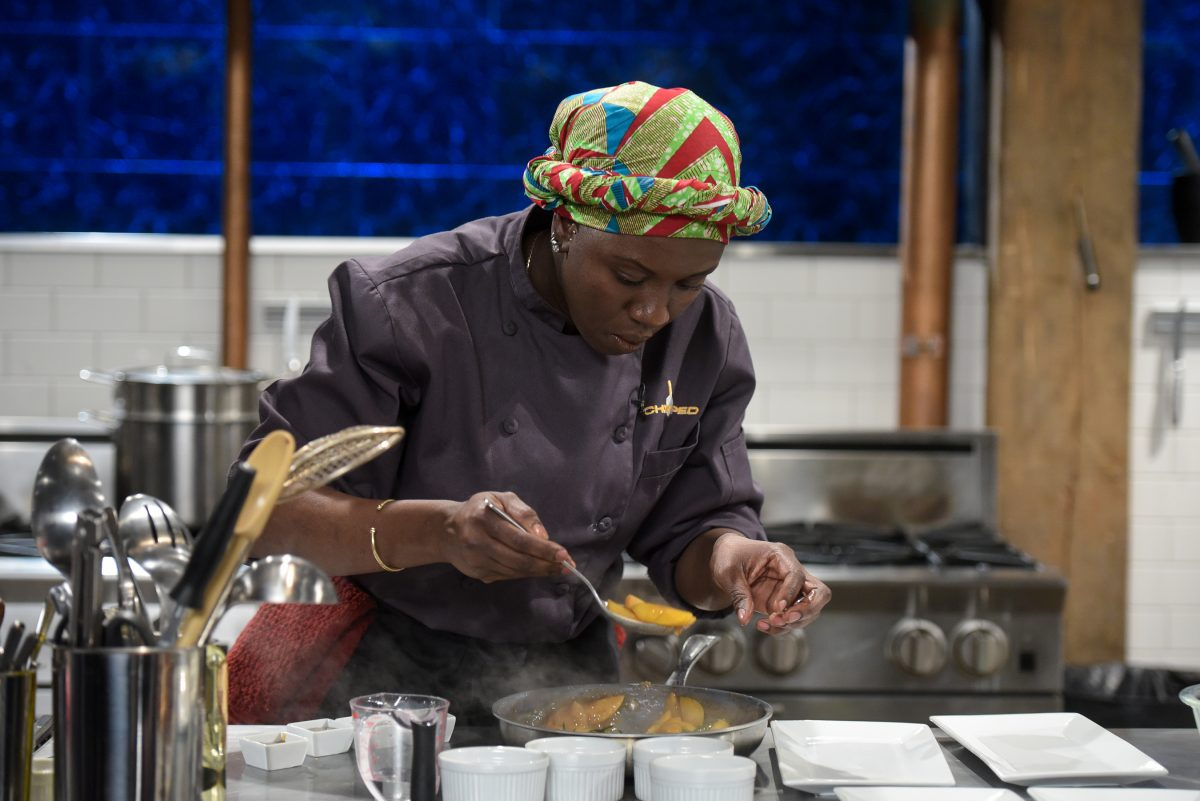 Chef Maame Boakye competing on Chopped