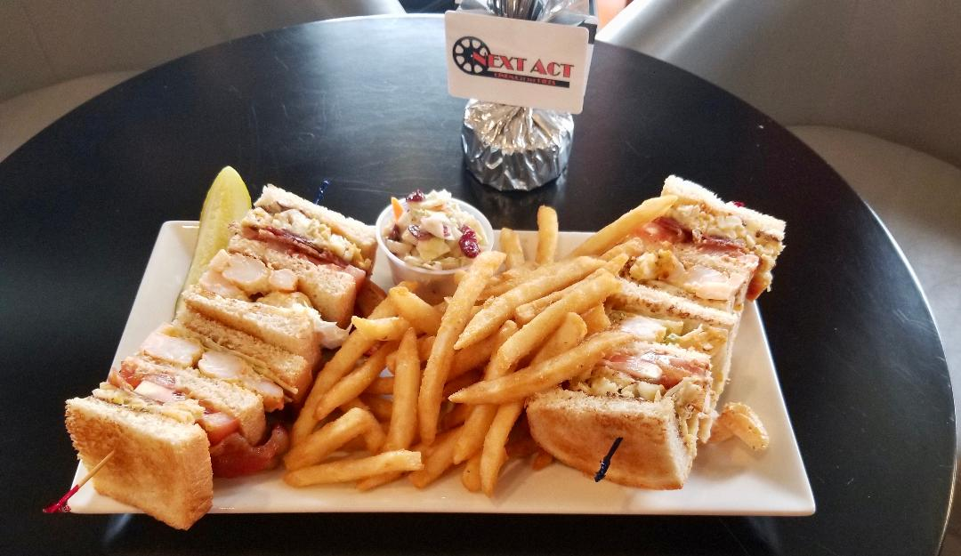 Club sandwich with crab at Next Act Cinema