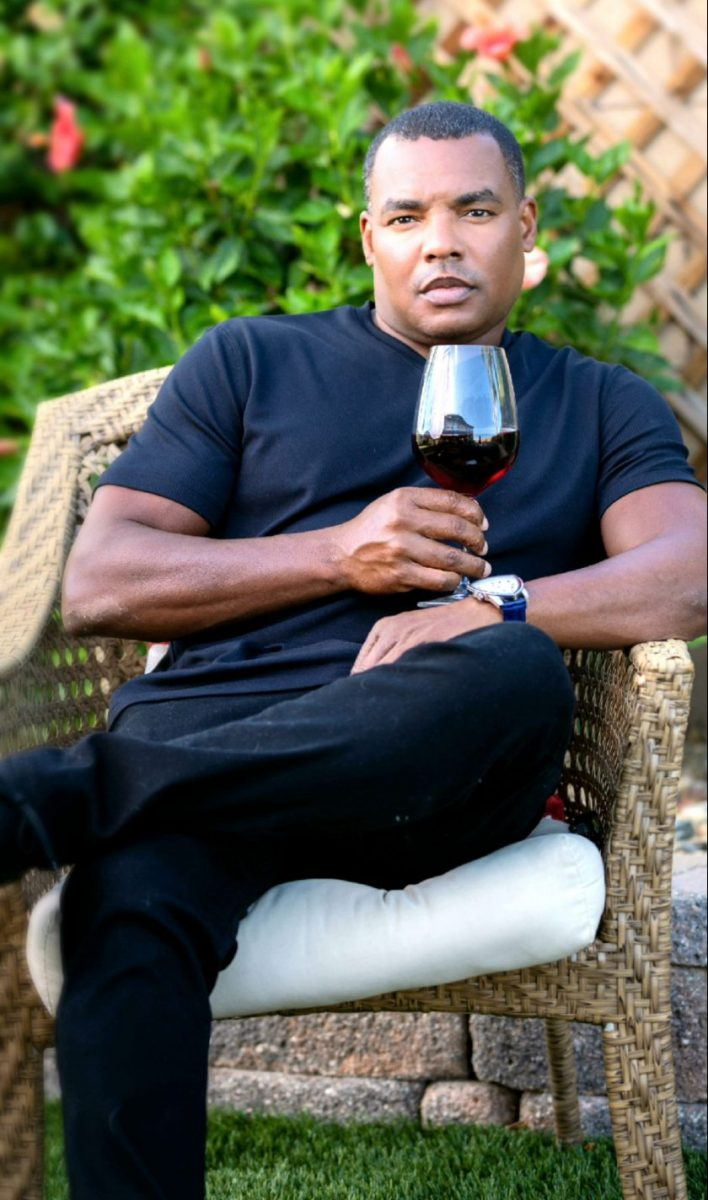 Ray Leonard Jr. with glass of wine