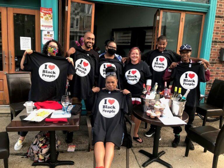 I Love Black People members at Aksum Restaurant in Philadelphia