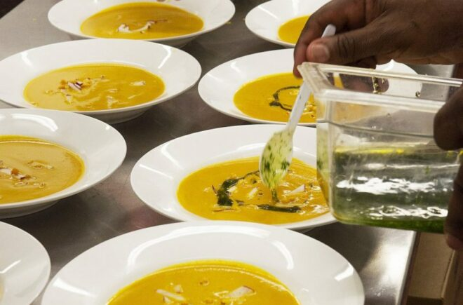 Spiced Carrot and Saffron Soup with Radish Pickles and Lemon Oil