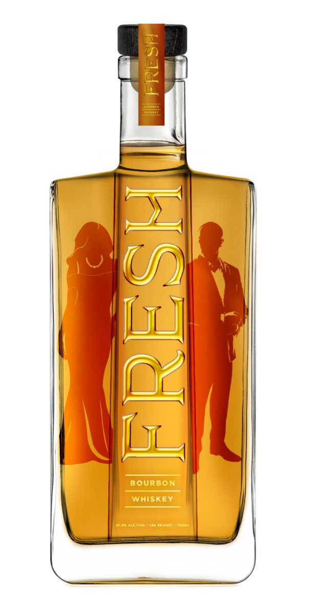 Fresh bourbon bottle