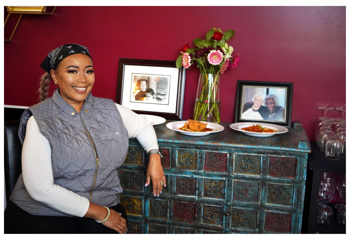 Chef Leilani Baugh with photo of her grandmothers