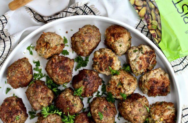 Mediterranean Wonderful Pistachios & Chicken Meatballs with Yogurt Dip