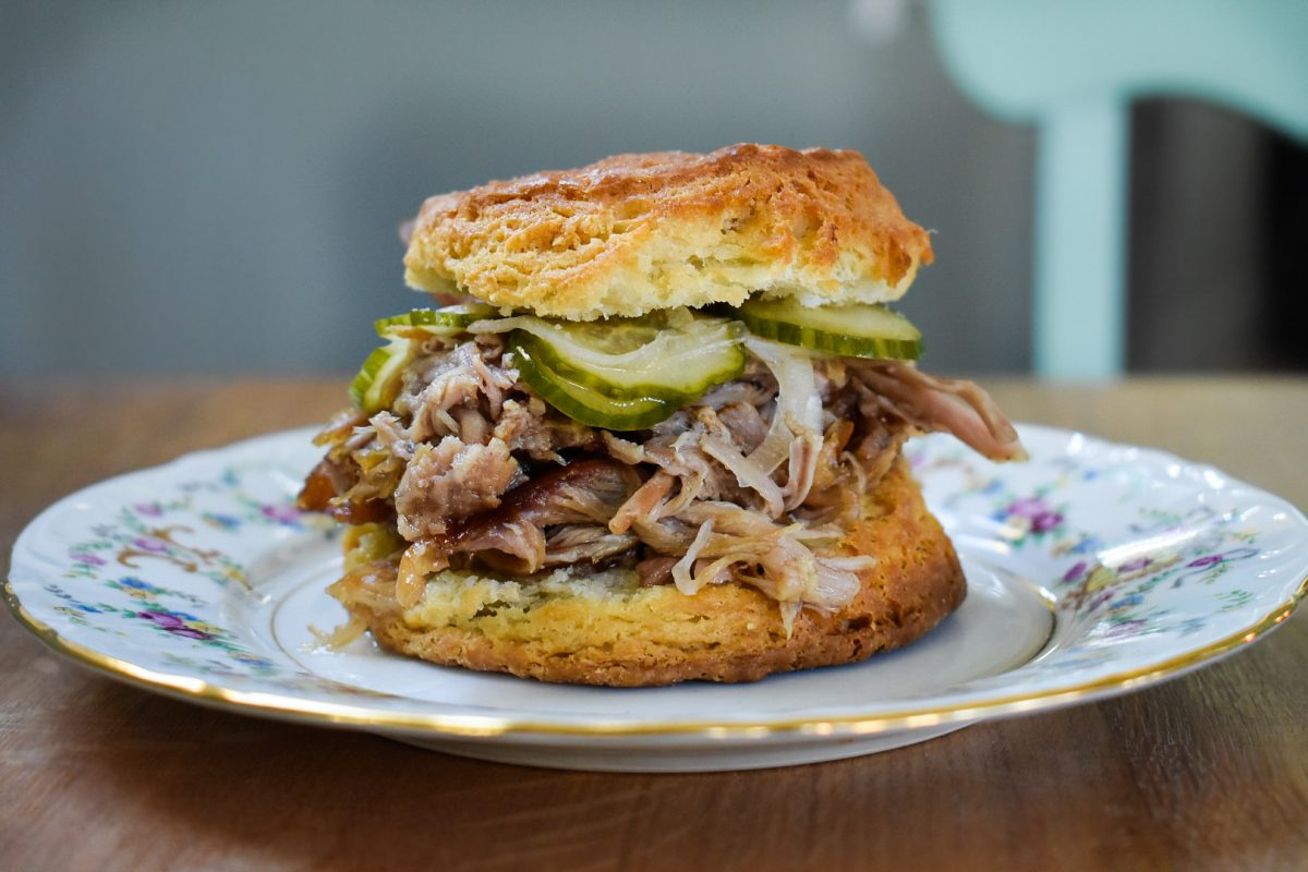 Pennyroyal Station Slow Roasted Pork Biscuit with Pickles