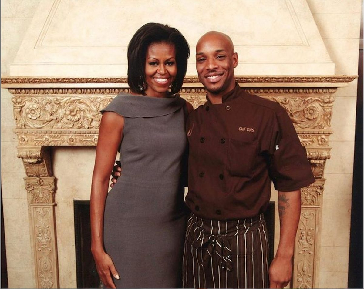Chef Darrell Smith and former First Lady Michelle Obama
