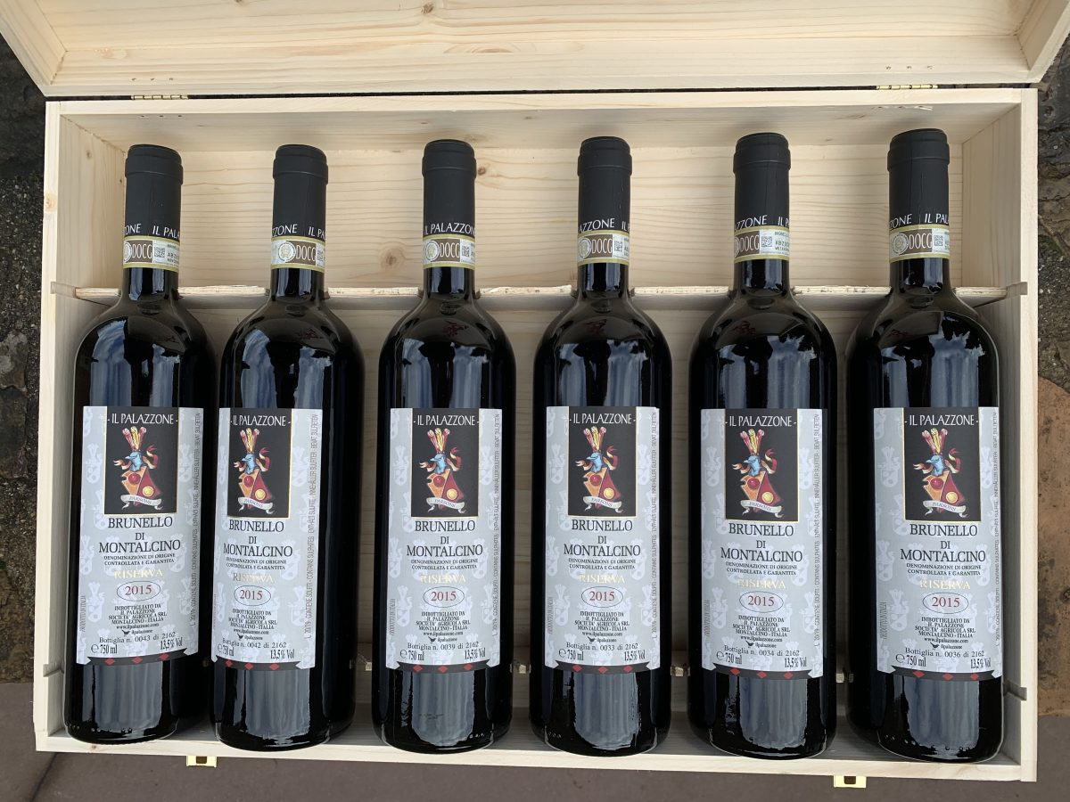 Bottles of Il Palazzone's Brunello in a wooden box
