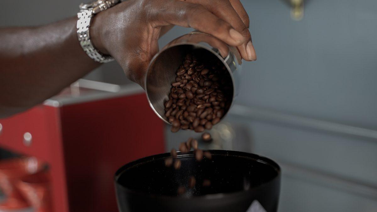 Justin Watson roasting coffee beans