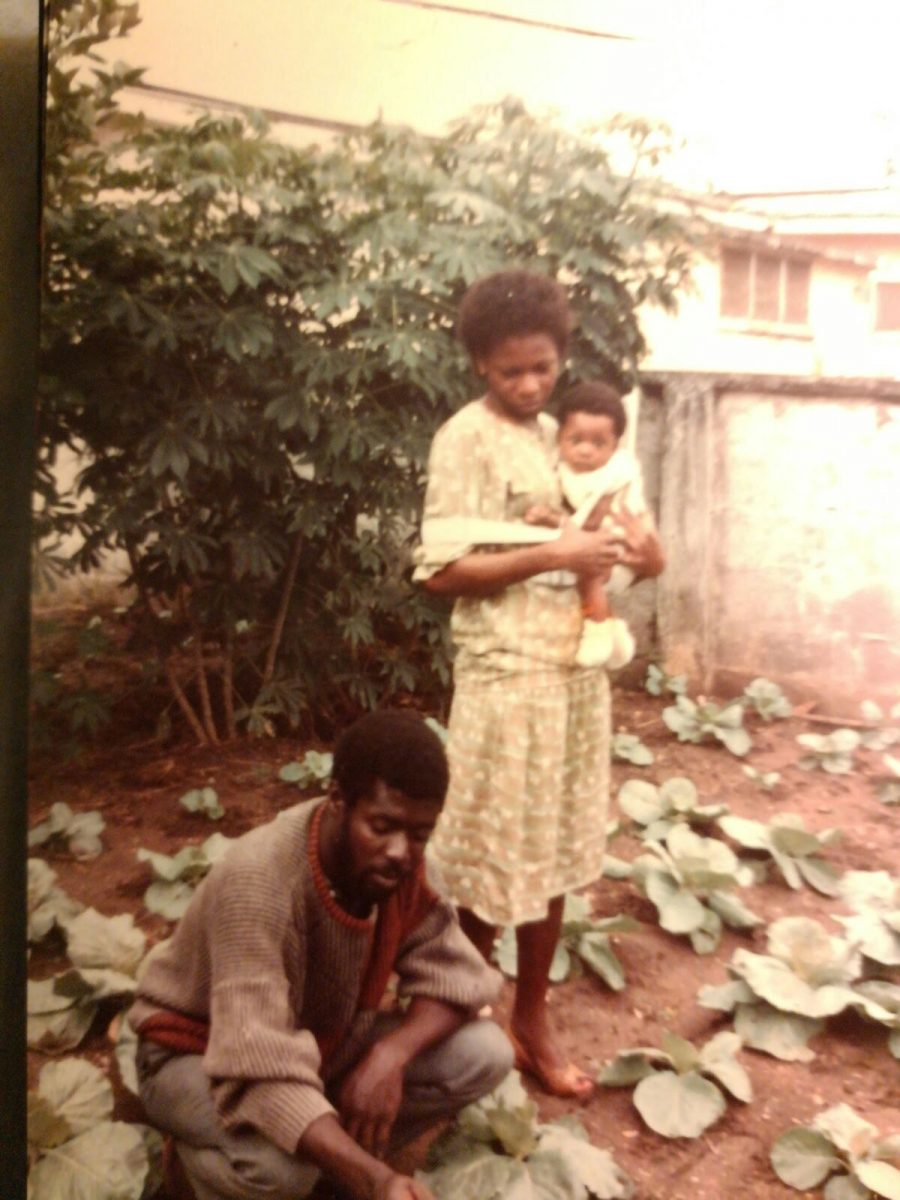 Abena Foli with her father and mother back in Ghana