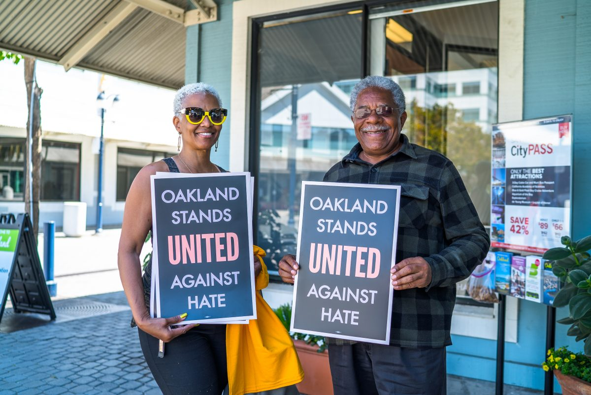 Oakland Stands United Against Hate Posters (Credit Lisa Baird)