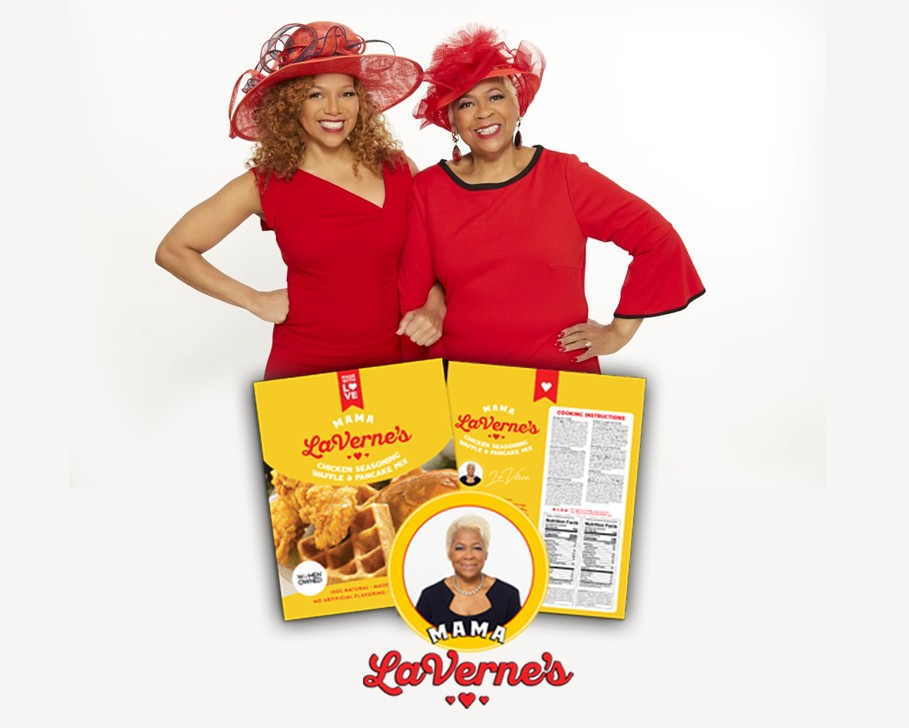 Donna Richard and Mama LaVerne's with packages of chicken seasoning and waffle and pancake mix
