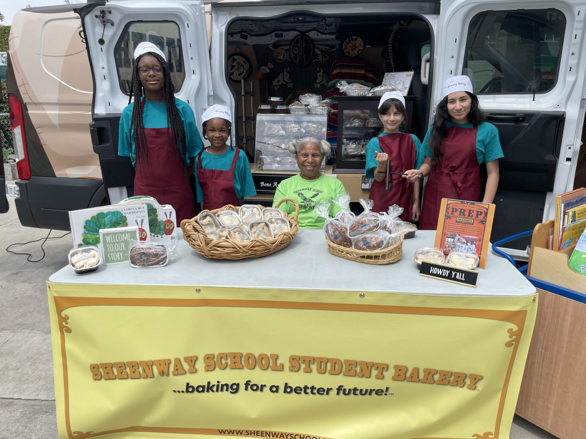 Dolores Sheen with students fro Sheenway School's student bakery