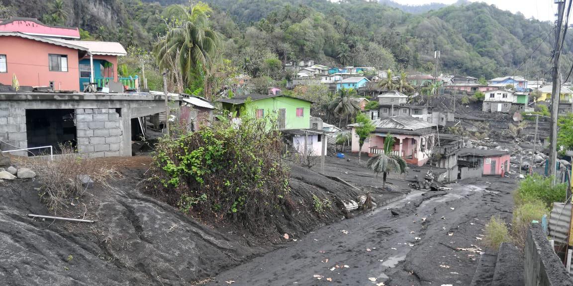 Damaged roads in Sandy Bay after the volcano eruption