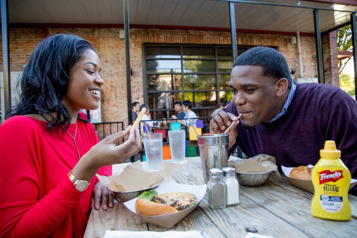 Couples eating out in Athens, GA