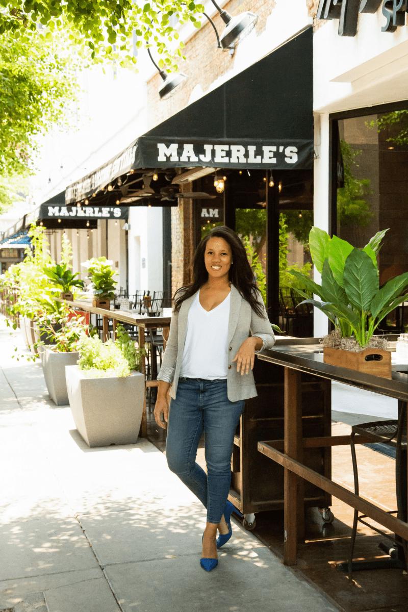 Janylle Radden, owner of MenuMD outside Majerle's restaurant in Arizona